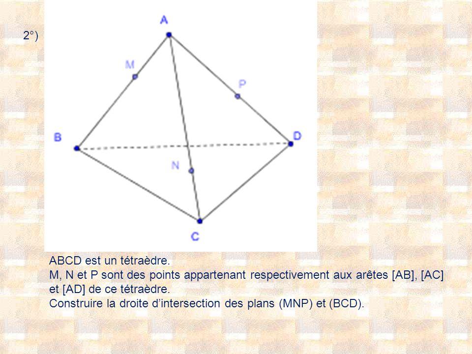 2°) ABCD est un tétraèdre. M, N et P sont des points appartenant respectivement aux arêtes [AB], [AC] et [AD] de ce tétraèdre.